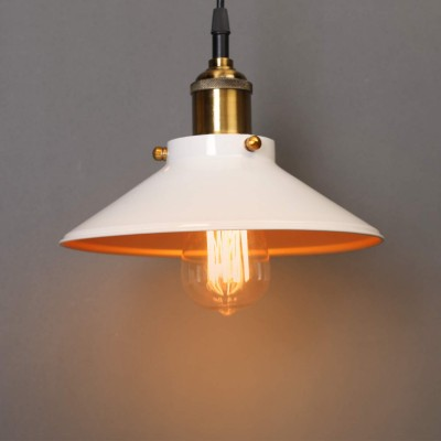 Industrial Loft White French Antique Pendant Light