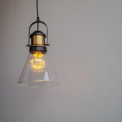 Industrial Loft Cone Glass Antique Pendant Light