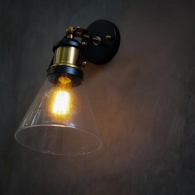 Industrial Loft Cone Glass Antique Wall Light